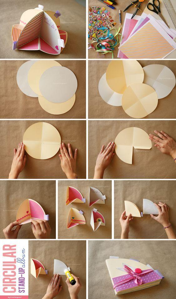 Scrapbook Circular Stand-up Album step by step here: http://www.craftingeek.me/2011/03/tarjeta-circular-desplegable-scrapbook.html: