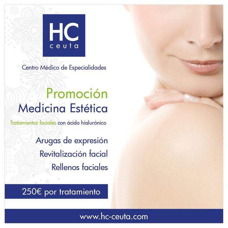 Rejuvenecer y rellenar la #piel de forma natural para corregir las #arrugas estéticas, que normalmente se encuentran en la nariz, labios y mejillas, sí es posible en #Ceuta. Este mes te traemos una #oferta especial en tratamientos faciales con ácido hialurónico, porque tu #salud y #bienestar nos importan. Pide cita con tu #especialista #HC para el día 22 de Febrero #UnidadDeMedicinaEstética #Belleza #CentroMédico #ViveFeliz.
