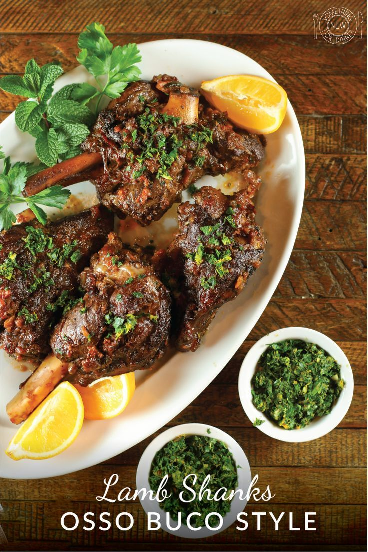Lamb shanks braised in wine and aromatics osso buco style makes for an easy and delicious special occasion meal. Garnish with lemon, orange, mint and parsley gremolata.