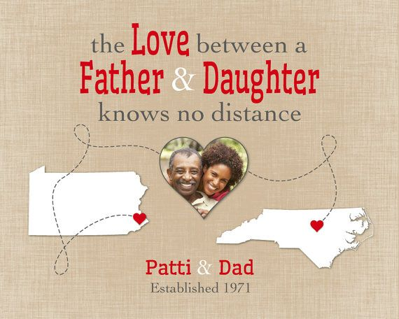 Birthday Present for Dad, Long Distance Family Gift, Father-Daughter Quote, Step Dad Gift, Personalized Photo Print, PA Map Print, NC Map Print, Keepsake, Map, Home Decor by #KeepsakeMaps on Etsy