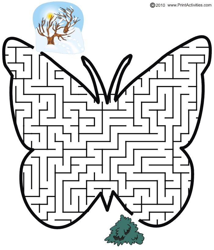 Butterfly shaped maze from PrintActivities.com
