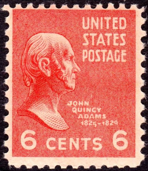 File:John Quincy Adams 1938 Issue-6c - On June 2, 1890 the US Post Office issued a brown 5-cent Postage stamp honoring Ulysses S. Grant. It was the first US Postage stamp to depict the former President and Civil War General. This issue was released exactly twenty-five years after Gen. Edmond Kirby Smith's surrender of the last major Confederate army at Galveston, Texas, on June 2, 1865. The issue was printed by the American Bank Note Company.[43]