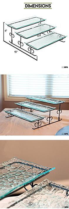 Tiered Dessert Server. 3 Tier Server - Black Tiered Serving Platter Stand & Trays - Perfect for Cake, Dessert, Shrimp, Appetizers & More.  #tiered #dessert #server #tiereddessert #dessertserver