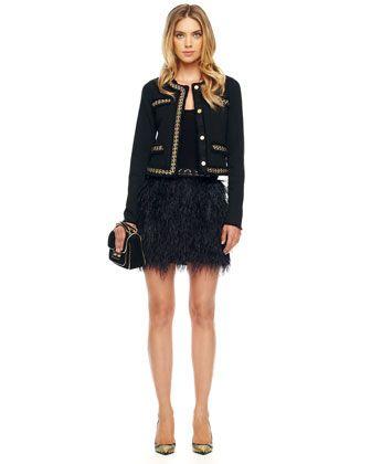 MICHAEL Michael Kors  Ostrich-Feather Skirt.