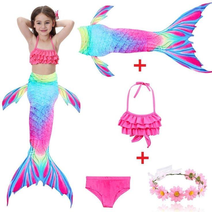 Girls Mermaid Tail with Finned Swimsuit