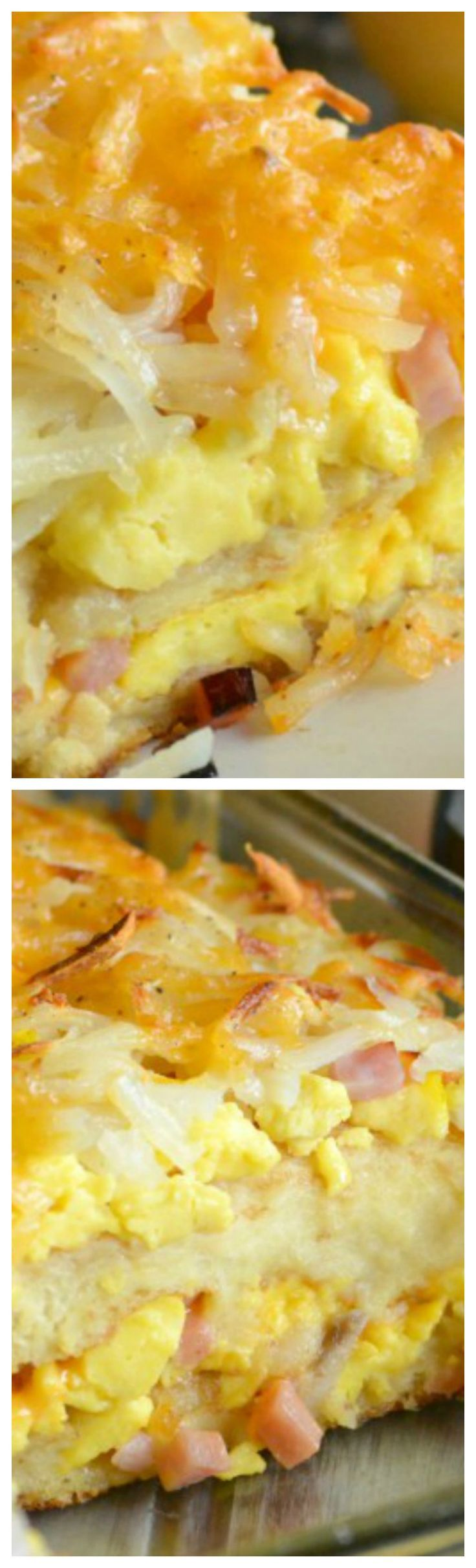 Breakfast Lasagna ~ Fluffy scrambled eggs and diced ham are sandwiched between layers of French toast with a syrup drizzle and a crispy hash brown crust... Day or night– it's a hearty meal that's sure to please any crowd.