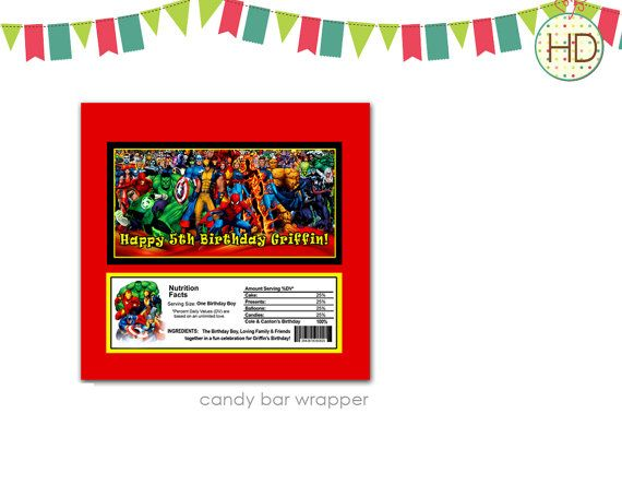 Superhero Candy Bar Wrapper on Etsy, $8.00