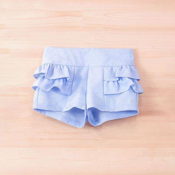 242ac24d1 Short azul niña volantes | costura, patrones ropa de niñas ...