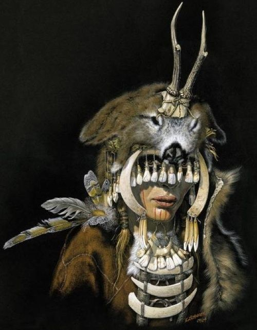 """Mesolithic female shaman of Bad Dürrenberg, 7000-6500 bce, with reconstructed regalia from animal bones, horns, teeth, and shells. From a wonderful color-illustrated pdf of """"Archaeological Finds from Germany."""""""