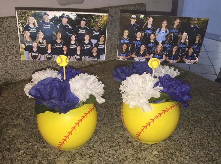 U made these from dollar store items, yellow spray paint, and a red paint pen. Softball banquet centerpieces