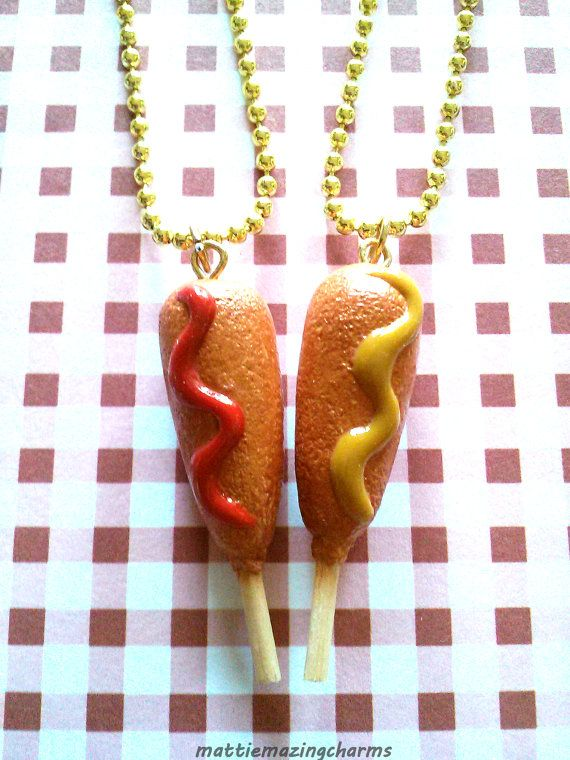 Inspired by the fast food chain, Hot Dog On A Stick! These adorable and absolutely delicious corn dogs are handmade by me with polymer clay and are attached to a 6 inch gold ball chain. They are both textured and shaded to look as realistic as possible. They are also coated with a matte glaze for protection. A really cute gift for you and a friend to share :]