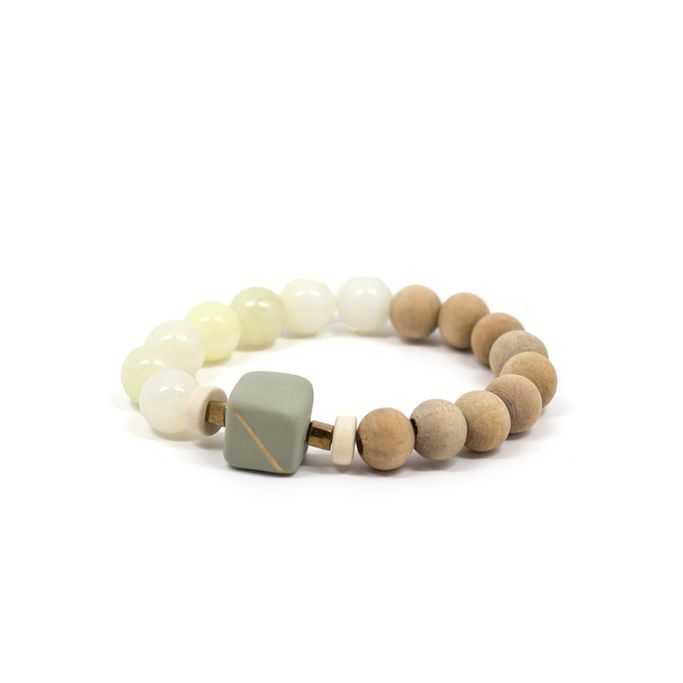 wood, clay, and jade bracelet