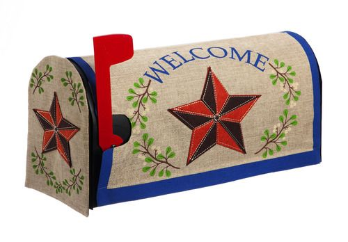 Burlap Welcome Country Star Mailbox Cover