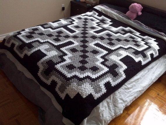 Free Crochet Pattern Queen Size Blanket : Crochet Blanket Pattern pdf: Frost Queen blanket - granny ...
