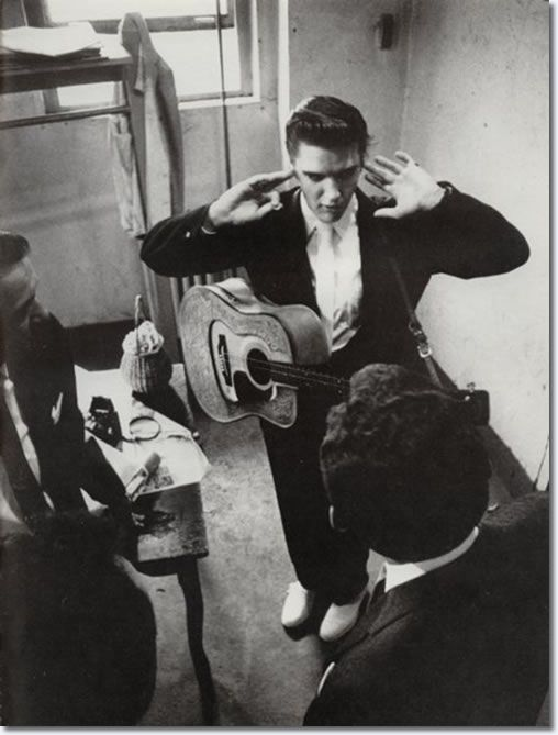 Warming up with the Jordanaires amidst the screams of girls outside - June 30, 1956