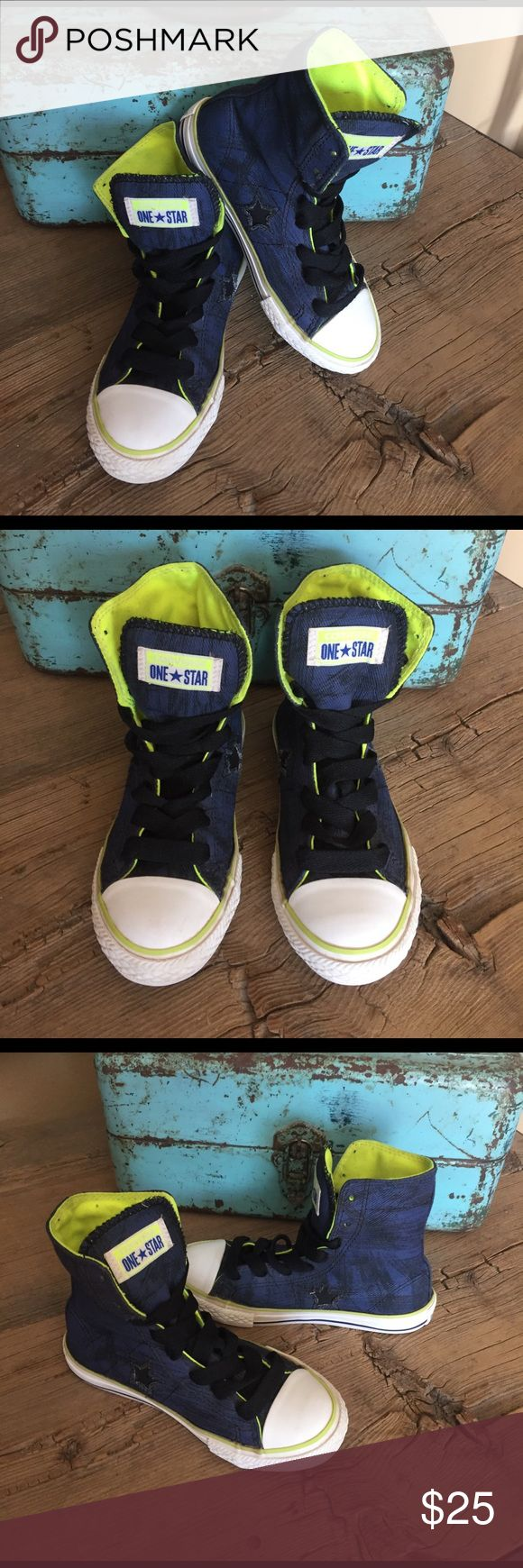 Converse One Star High Tops Size 13. Navy with Black design last photo shows you what they look like up close. Neon green inside. Great shoes! Gently worn and plenty of use left in these as shown in all photos. Could be worn by girl or boy. Converse Shoes Sneakers