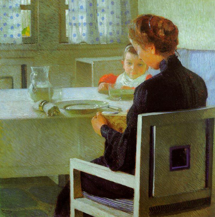 Carl Moll, Beim Frühstück (Mutter und Kind), 1903, Öl auf Leinwand © Wien Museum