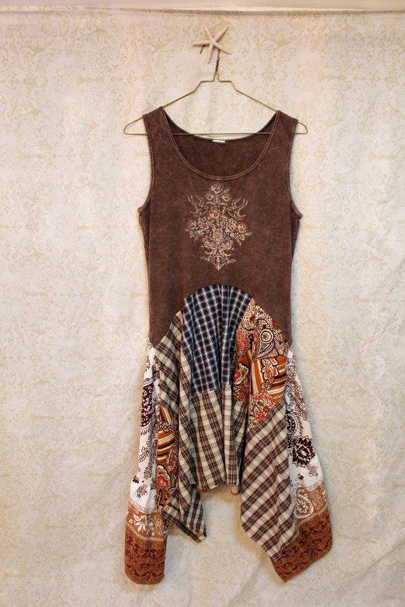 Boho Tank Top Dress, Romantic Bohemian Artwear Junk Gypsy Style, Country Girl Chic