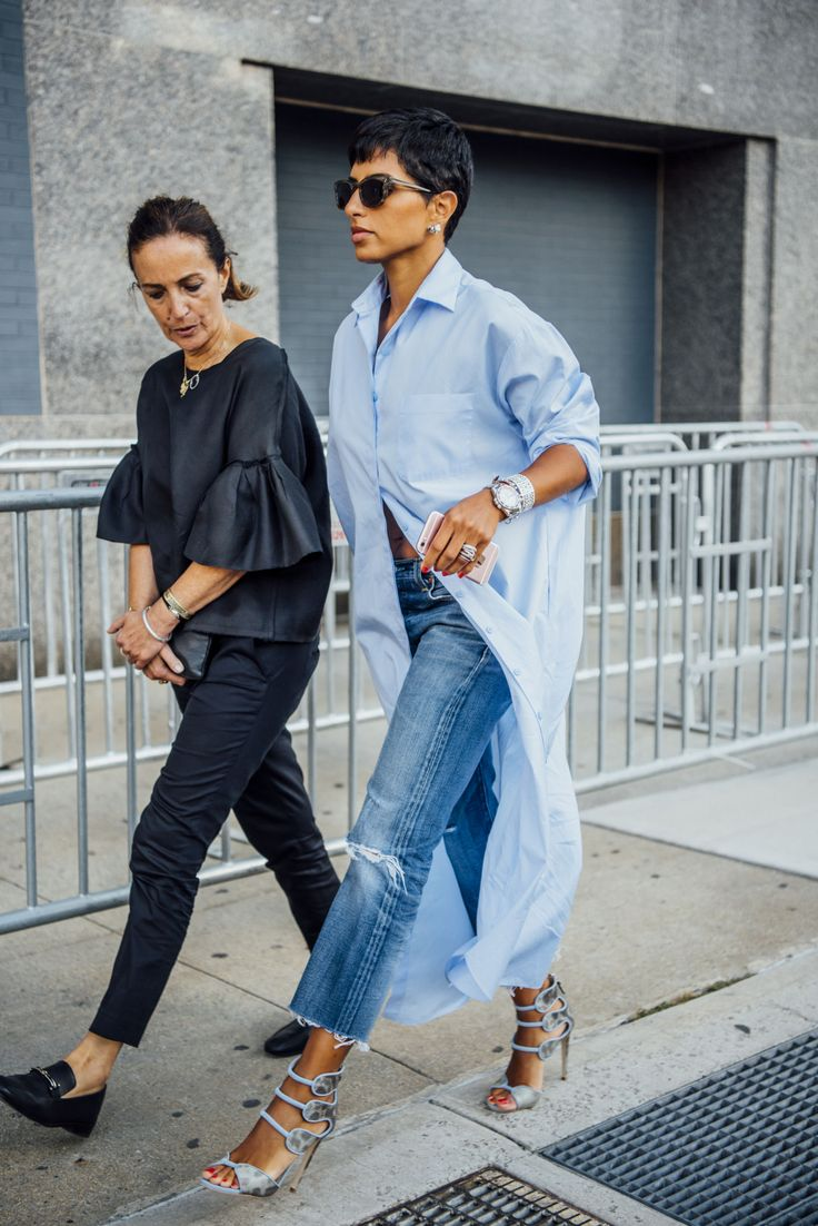 Tommy Ton - Archive Deena Aljuhani Abdulaziz, Editor in Chief of Vogue Arabia in Bouguessa Oversized Shirt Dress.