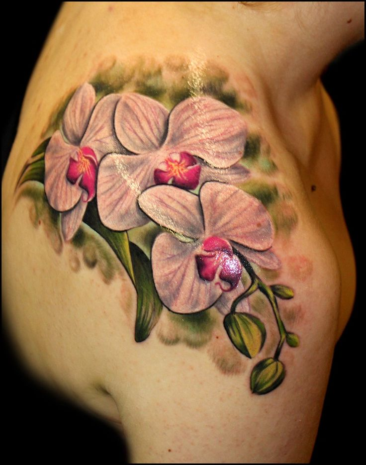 Orchid flower tattoos by Chris 51 of Area 51 Tattoo, Springfield, OR