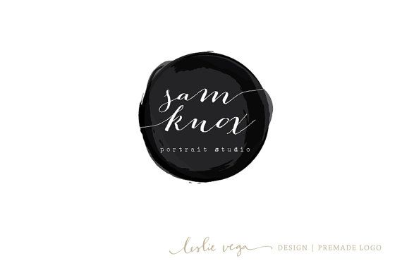 Modern bold black logo,  round watercolor, calligraphy logo Premade Photography Logo by LeslieVegaLogoShop, $45.00