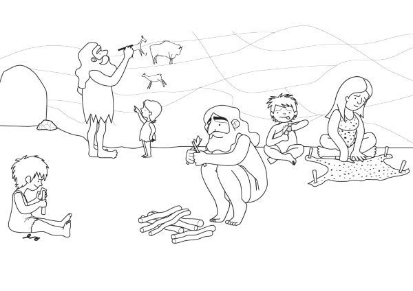Prehistoria: dibujo para colorear e imprimir
