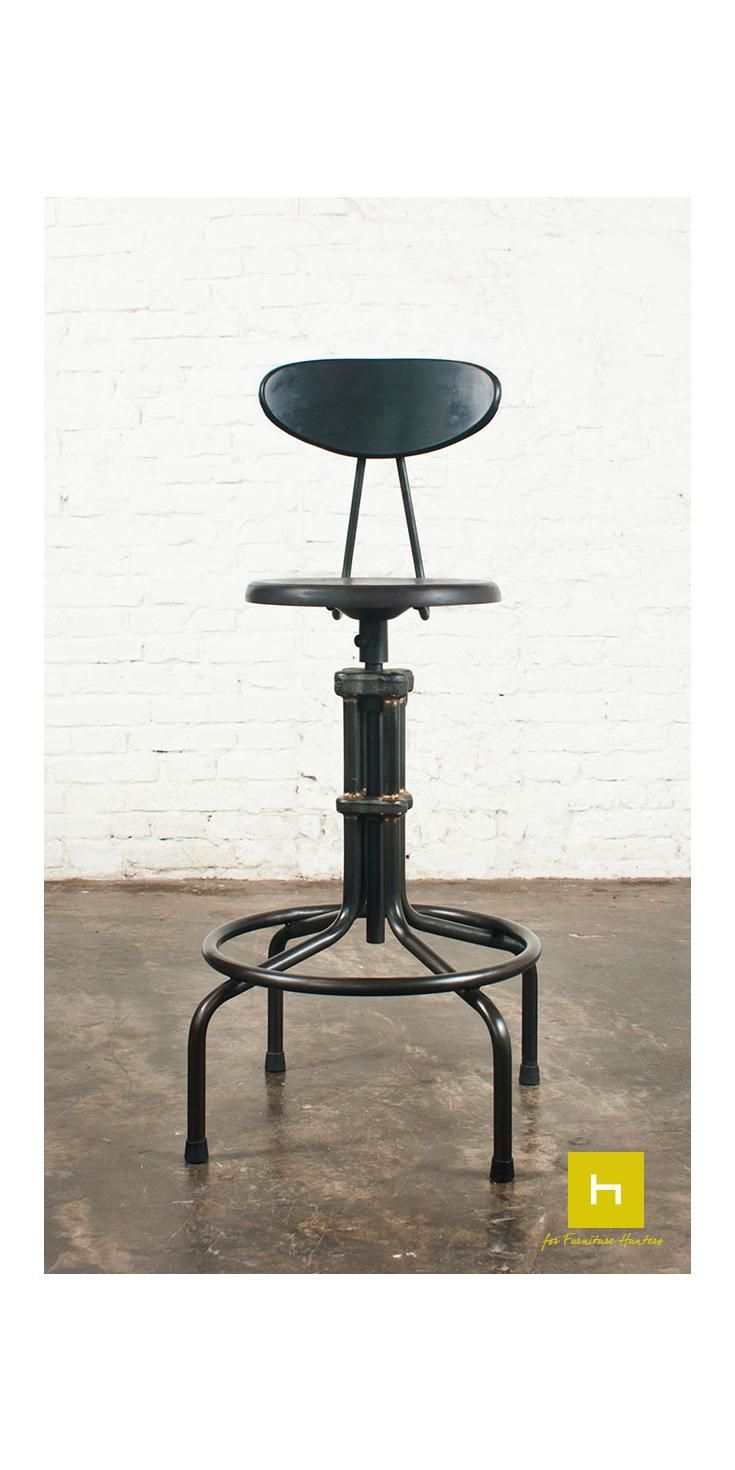 The L'Usine Counter Stool with Back Rest combines original cast iron collars influenced by industrial furniture with hand brazed metal joinery by in-house craftsmen. #furniturehunters #industrialdesign #furnituredesign