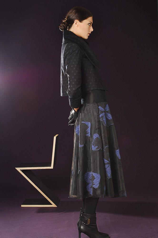 5335 Wool Spot Jacket, 4892 Midnight Organza Skirt