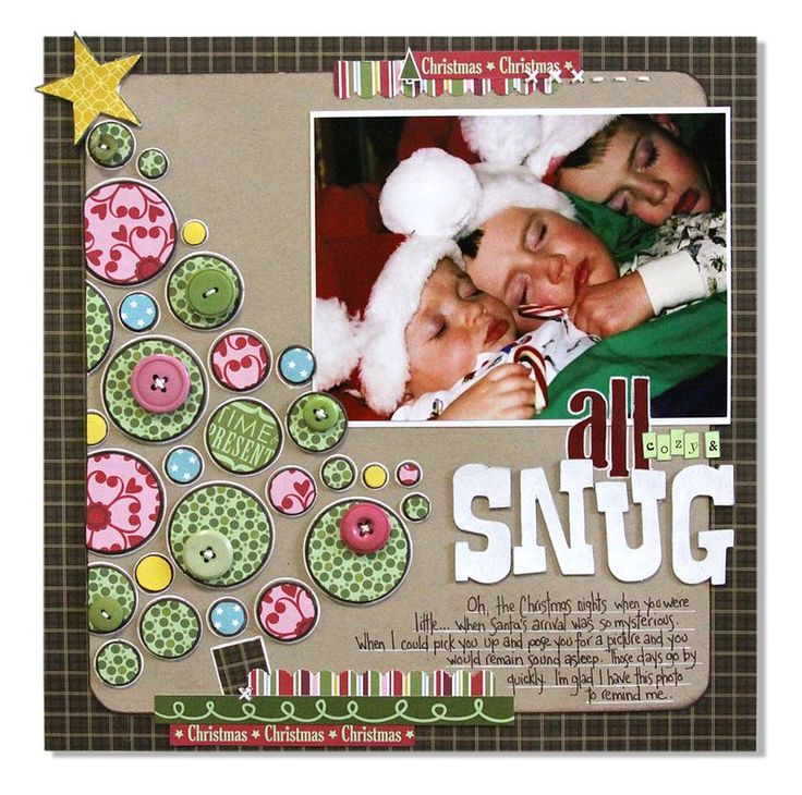 All Snug... love the #Christmas tree of circles #layout #scrapbooking