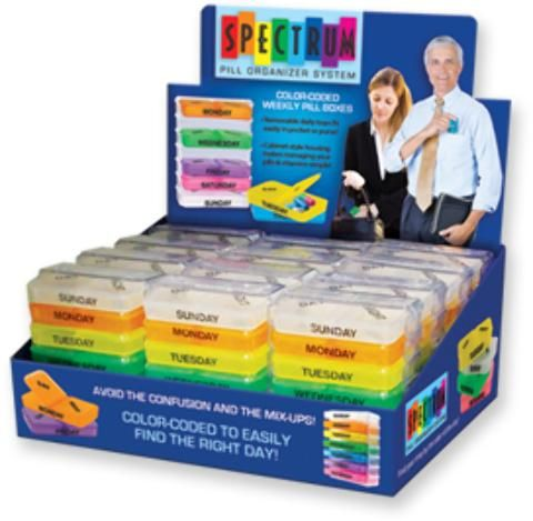Wholesale Spectrum Pill Organizer System (Case of 24)