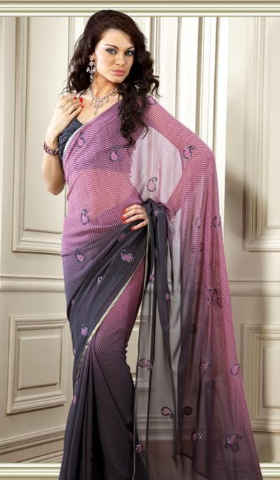G3 Fashions Shaded Pink and Grey Faux Geogette Designer Saree  Product Code : G3-LS3616 Price : INR RS 1604