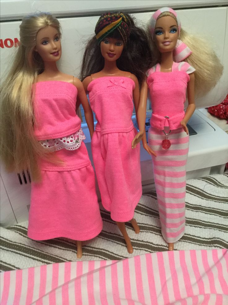 Barbie clothes made from second hand baby clothes. No patterns used. Leggings and ruffled skirts made from stretchy fabrics are the best. Use the hemmed areas for tops of dresses, skirts etc By Cheryl Moody