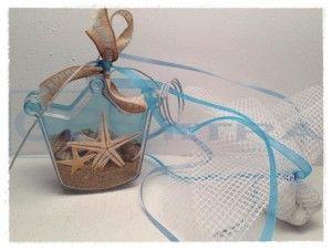 Διάφανο κουτάκι μπομπονιέρα με αμμο,κοχύλια,αστερίες