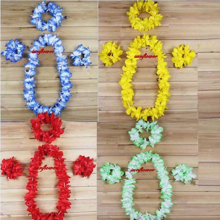Цветок гавайских луо пляжный ну вечеринку цветок леев необычные платья ожерелье повязка на голову браслет хула гирлянда цветов декор