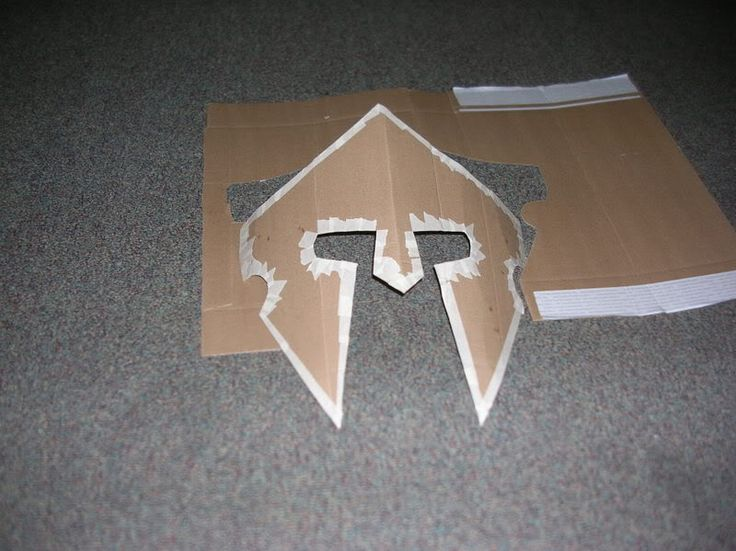 How to make a roman helmet cardboard spartan helmet for Cardboard armour template