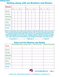 Life With Toddlers: Free Printable Sibling Behavior charts for Toddlers and Preschool Ages 1 to 5