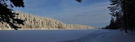 Winter scenery in Kylmäluoma near Saija Lodge, Taivalkoski, Kuusamo Lapland, Finland