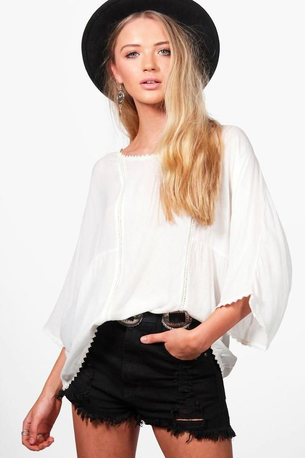 Ad: Phoebe Flower Trim White Smock Top