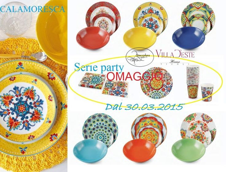 VILLA D ESTE Servizio di piatti CALA MORESCA 18PZ (6 PERSONE) +OMAGGIO SET PARTY