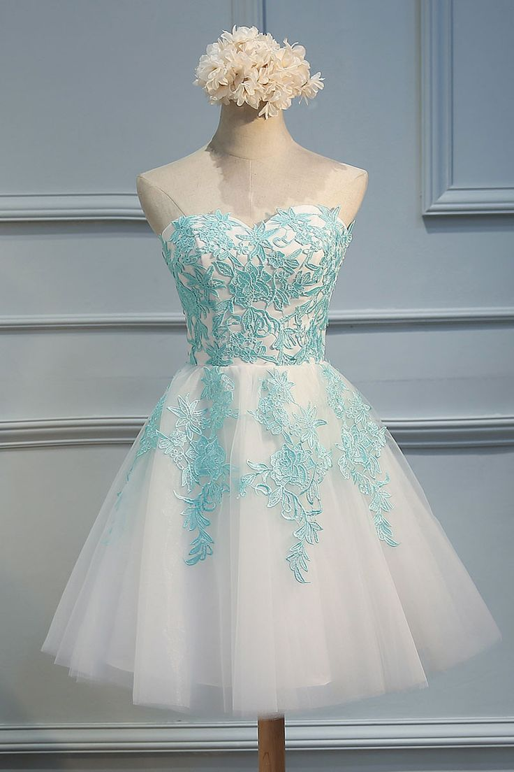 Green lace tulle short prom dress, cute homecoming dress for teens, green lace bridesmaid dress