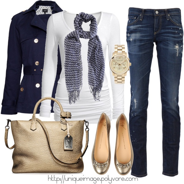 Navy and white with gold accents #style #fashion
