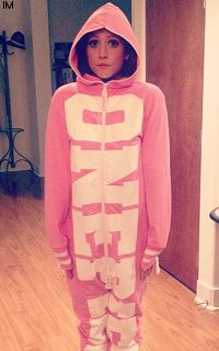 Brittany Snow in her onesie. One simply cannot handle such an adorable being.