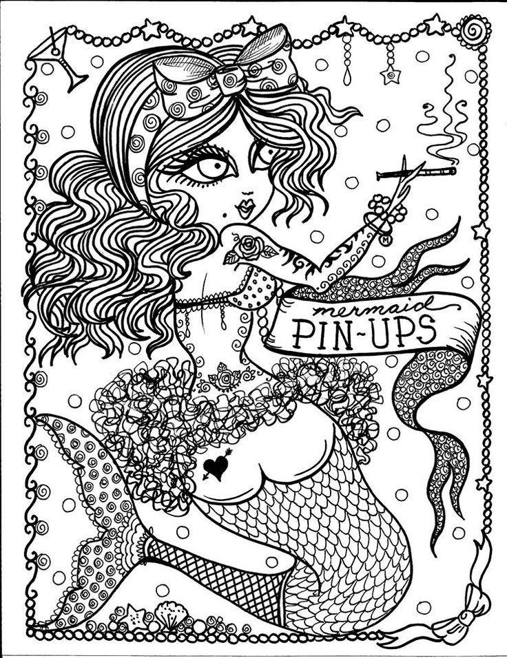 free colouring page via artist deborah muller of chubby mermaid designs - Mermaid Coloring Pages Adults