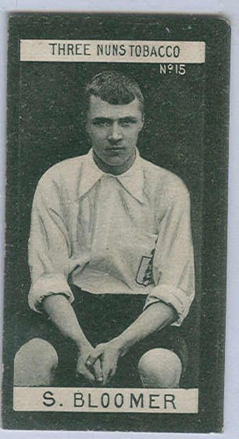 """Sports Card Forum - Top 50 Football Cards (Mostly Vintage) : #27. 1902 J&F Bell """"Three Nuns"""" Tobacco Steve Bloomer. After G.O. Smith, Steve Bloomer was the second most famous English player in the world at the turn of the 20th Century. Bloomer could score with either foot and remains the second all-time leading scorer in Premiere League with 317 career goals. Bloomer has several nice cards from his playing days, this """"Three Nuns Tobacco"""" card is one of his rarest. Derby County still plays…"""
