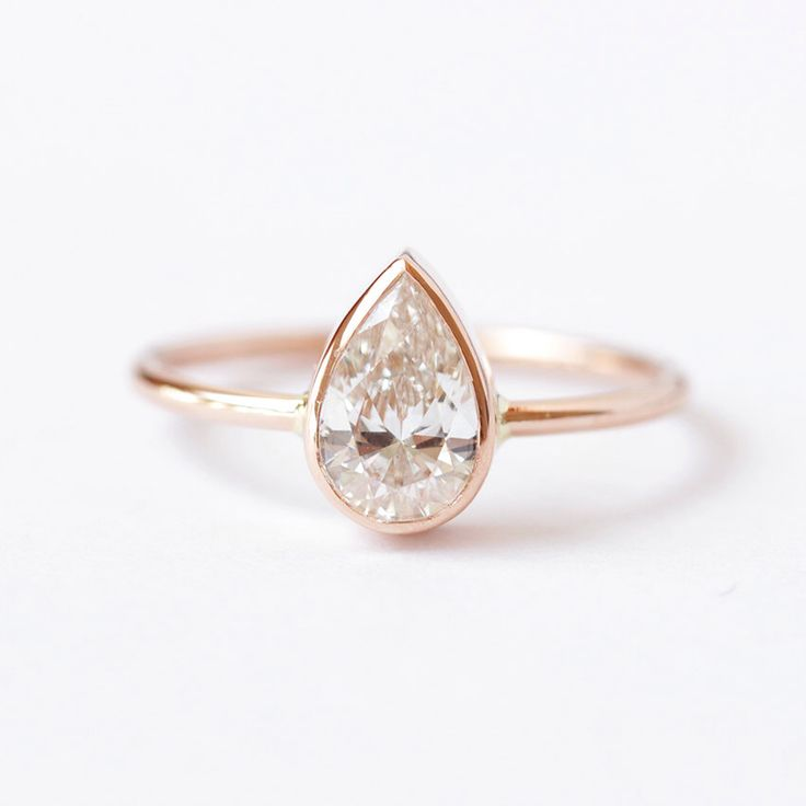 0.75 Carat Solitaire Pear Diamond Engagement Ring - 18k Gold by artemer on Etsy https://www.etsy.com/listing/201101698/075-carat-solitaire-pear-diamond