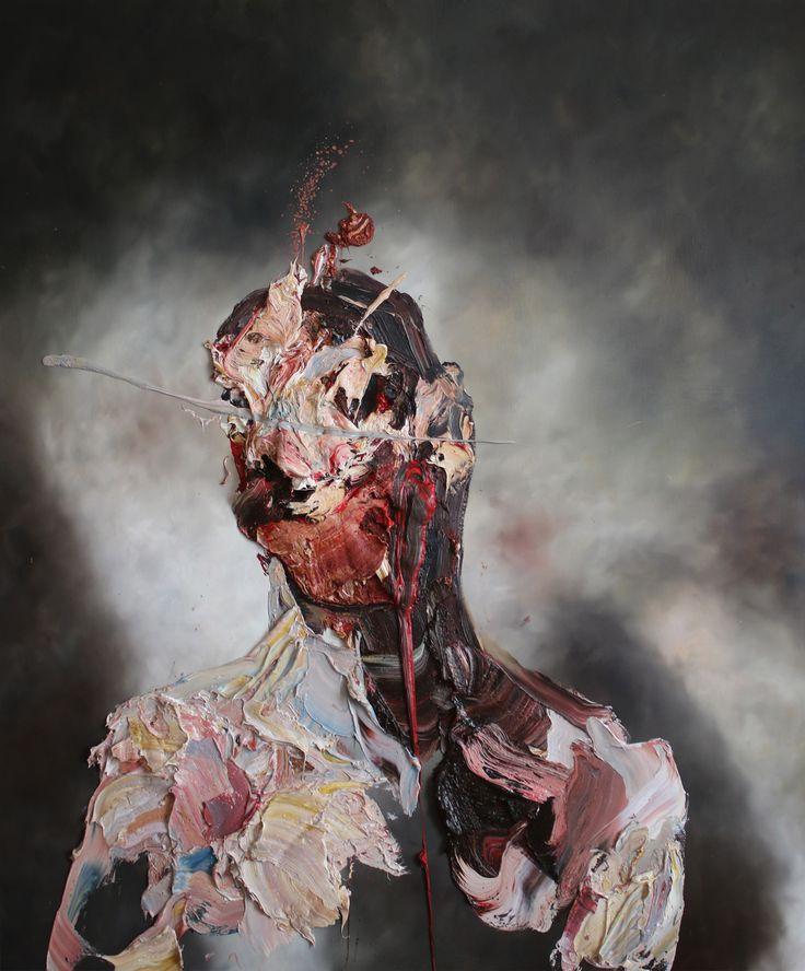 Antony Micallef - Self portrait with blue slash no1