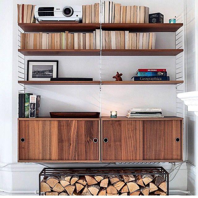 """""""Photo by @cecilia_tegner #stringhylla #stringshelf #stringshelves #walnut #white #cabinetswithslidingdoors #sweden #madeinsweden #interior #furniture…"""""""