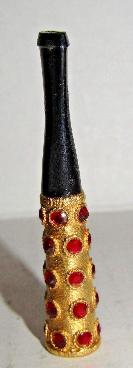 Vintage Cigarette Holder Red Rhinestones Gold Tone