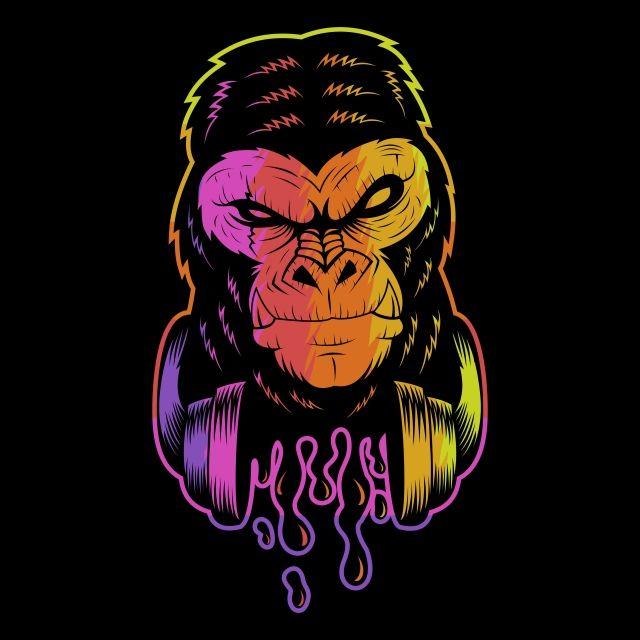 Gorilla Headphone Colorful Vector Illustration Vector Illustration Vector Art Illustration