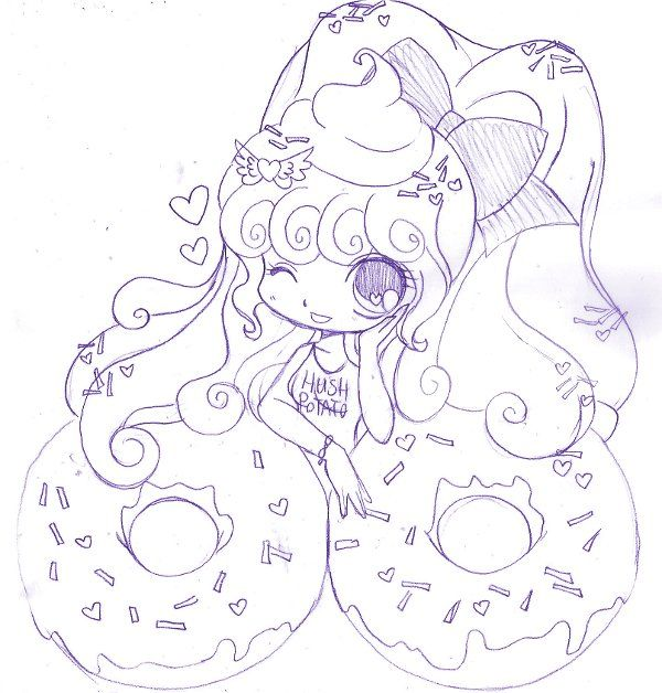 17 best images about kawaii on pinterest chibi donuts for Yampuff food coloring pages